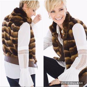 Chico's Faux Fur Mink Vest Large (2)